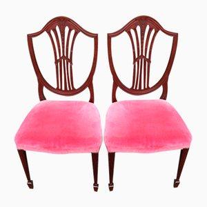 Mahagoni Wheateaf Stühle mit pinkem Bezug, 1960er, 2er Set
