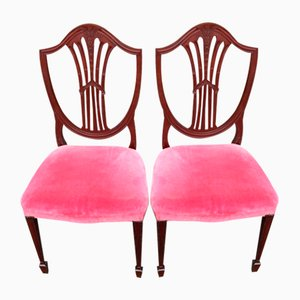 Mahogany Wheatsheaf Chairs in Pink Upholstery, 1960s, Set of 2