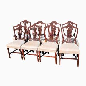Mahogany Wheatsheaf Chairs Including Carver, 1900s, Set of 8