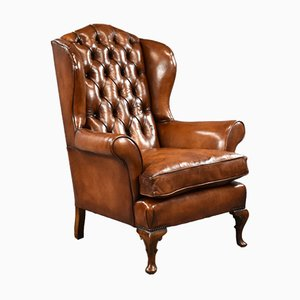 Edwardian Hand Dyed Leather Wingback Armchair