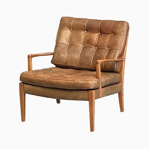 Loven Easy Chair in Buffalo Leather & Teak by Arne Norell for Norell AB