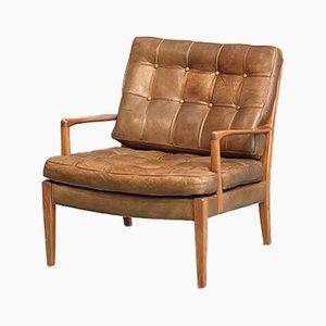 Loven Sessel aus Büffelleder & Teak von Arne Norell für Norell AB