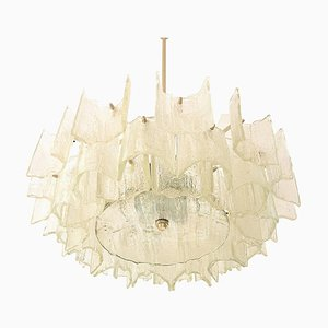 Large Frosted Glass Chandelier from Kalmar, Austria, 1960s