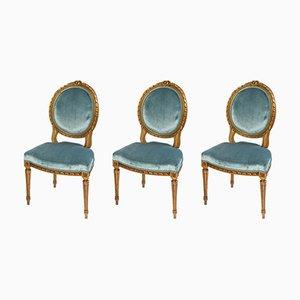 Wohnzimmer Stühle Set aus goldenem Holz im Louis XVI Stil, 3er Set