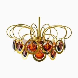 Lampadario in ottone e vetro, Italia