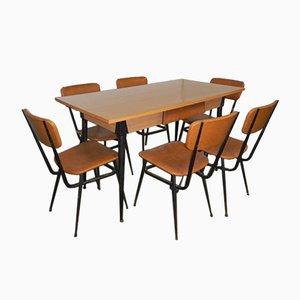 Tavolo e sedie da cucina, anni '50, set di 7