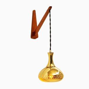 Perforierte Hängelampe oder Wandlampe aus Messing von Hans-Agne Jakobsson, Schweden, 1950er