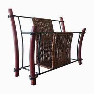 Porte-Revues Japanaiserie Vintage en Bambou et Rotin