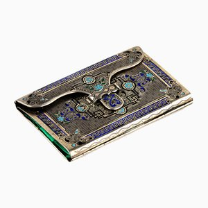 Silver Business Card Holder with Enamel Decoration
