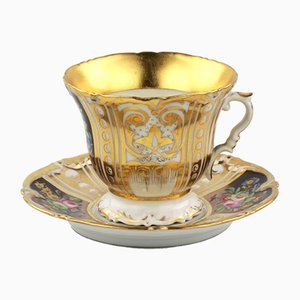 Large Porcelain Cup and Saucer, Set of 2
