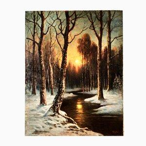 Nuit au Clair de Lune dans la Forêt d'Hiver, Alfred Alexander Gelhar, 1875-1948