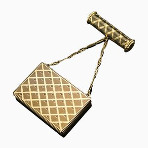 French 18K Gold Enamel Vanity Case from Van Cleef & Arpels, 1930s