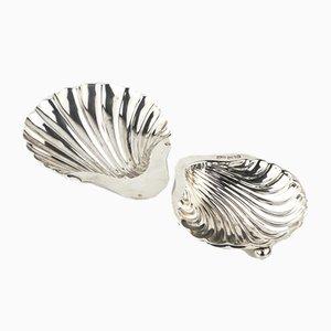 Silver Seashell Shaped Caviar Dishes, Sheffield, 1898, Set of 2