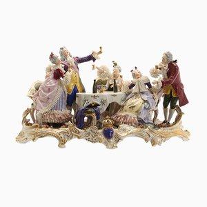 Porcelain Composition Depicting Ladies and Gentlemen Feasting