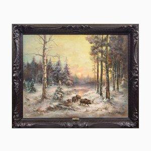 Jabalíes en el bosque, óleo sobre lienzo, A. Zotov А. Зотов, 1909