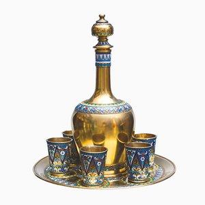 Silver & Enamel Drinking Set, Set of 8