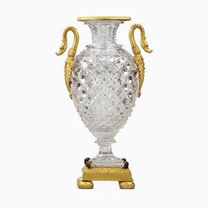 Crystal Vase in Gilded Bronze