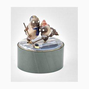 Miniature Stone Hockey Player Figurine