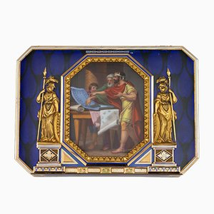 Gold Snuffbox with Enamel from Guidon, Rémond & Gide, Early 19th Century