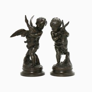 Playing Cupid Figurines, Set of 2