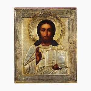 Pantocrator Icon with Silver Frame