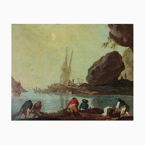 Kleines italienisches Gemälde neapolitanischer Fischer