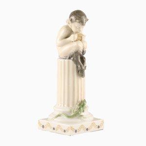 Figura de fauno en pedestal con lagarto de Royal Copenhagen