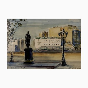 Žanis Sunins, Aquarell, City, 1904-1993