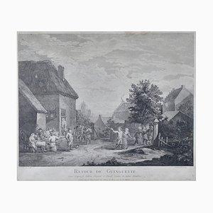 Französische Radierung, 18. Jahrhundert, David Teniers, Rückkehr aus der Taverne