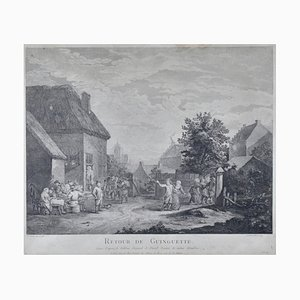 French Engraving, 18th Century, David Teniers, Return From the Tavern