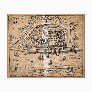 Plan de la ville de Riga, Matiass Merians (1593-1659), milieu du 17ème siècle
