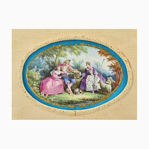 19th Century French Porcelain Oval Panel