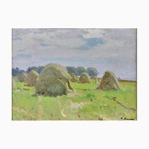 Landscape, Haystacks, Raimonds Auniņš, 1907-1960