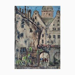 Janis Brekte, Watercolor, Old Riga, 1971