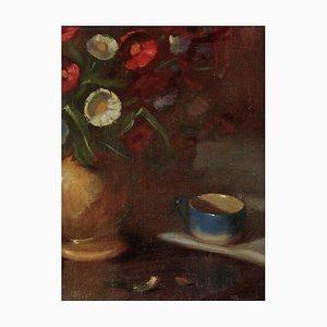 I. Ryazhsky, Stillleben mit Becher und Blumen