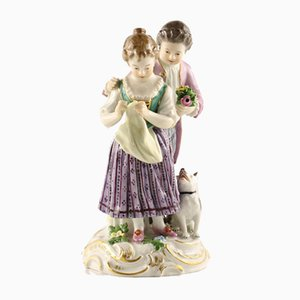 Porcelain Scene Depicting Couple with a Dog from Meissen