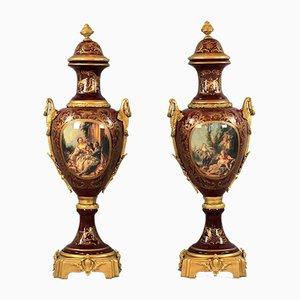 Louis XVI Style Floor Vases, Set of 2