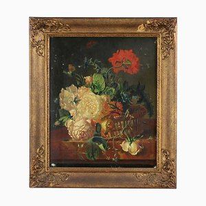 Korb mit Blumen im Stil von Jan Van Huysum