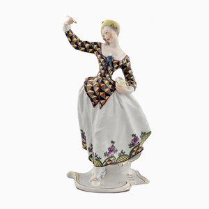 Figura Columbine de porcelana con platillo