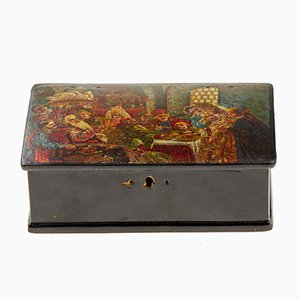 Antique Russian Box with Scene from a Boyar's Life