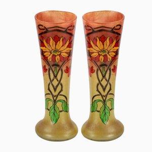 Art Nouveau Glass Vases, Set of 2