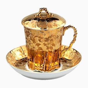 Gilded Lidded Teacup & Saucer from Kuznetsov, Set of 2
