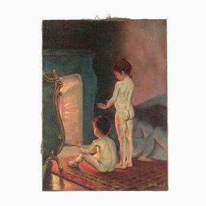 Children by the Fireplace by Novikov