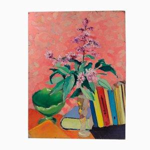 Naturaleza muerta con flores y libros de Zigfrīds Vēžnieks