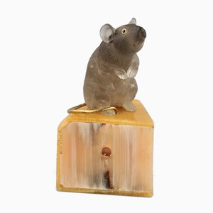 Stone Figurine Depicting Mouse on Cheese