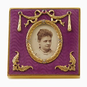 Enamel Photo Frame in the Style of Carl Faberge