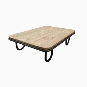 French Industrial Wooden Coffee Table