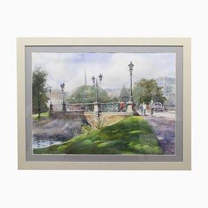 Watercolor, Riga Bridge, A. Neberekutin