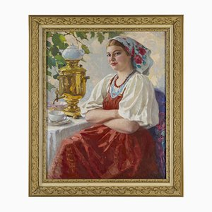Girl with a Samovar by M. Maksolly