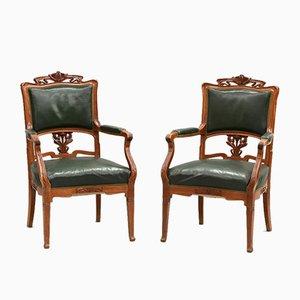 Art Nouveau Leather Armchairs, Set of 2